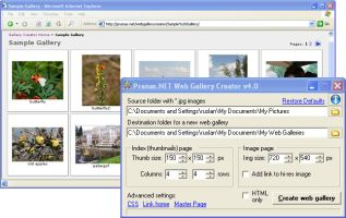 screenshot of program Pranas.NET Web Gallery Creator